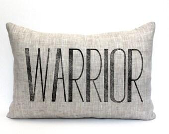 "warrior pillow, throw pillow, word pillow, phrase pillow, mother's day gift - ""The Warrior"""