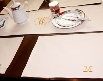 Monogram Ruffle Table Runner and Placemats in Natural Cotton Handmade in USA
