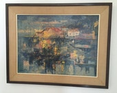 1960 Mid Century Modern Abstract Painting Boats