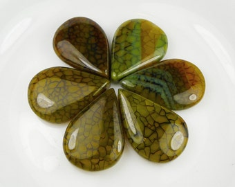 Green Fire Agate Pendant Beads - 28x20x8mm - Set of 6