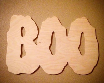 halloween door hanger halloween decoration halloween party decoration large 14 boo sign halloween sign wood letters unfinished wood letters