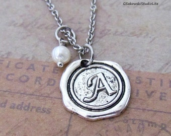 Personalized Antique Silver Wax Seal Birthstone Initial