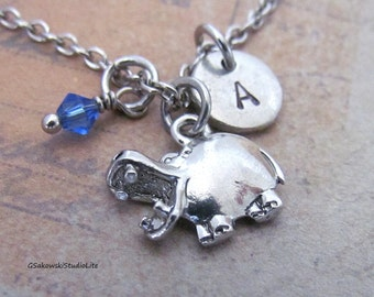 Hippo  Charm Necklace, Personalized Antique Silver Hand Stamped Initial Hippopotamus Charm Necklace