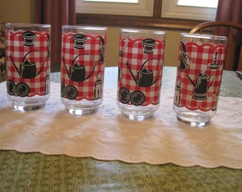 Set Of Four Red  Gingham Glasses 1950,s