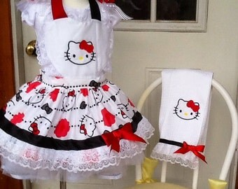 Kitty apron and matching Towel.  1 ready to ship today. Size 5/6
