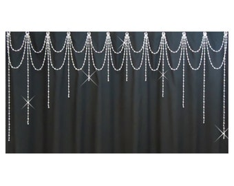 Shower Curtain Bling...Double Swag w Arched Vertical Strands