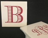 Hand-crafted Tile Coasters with Monogram