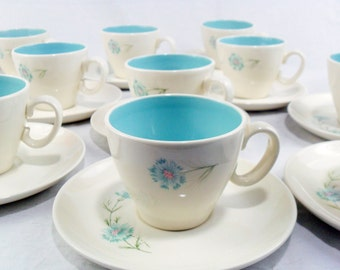 Vintage Boutonniere Bouquet Cups and Saucers * Aqua Carnation * Blue Bachelor Button * Set of 11