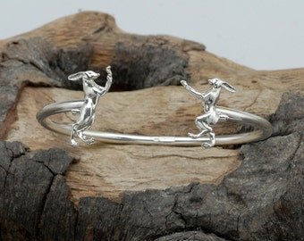 Boxing Hares Bangle in Sterling Silver
