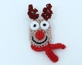 Crochet Christmas brooch red nosed reindeer
