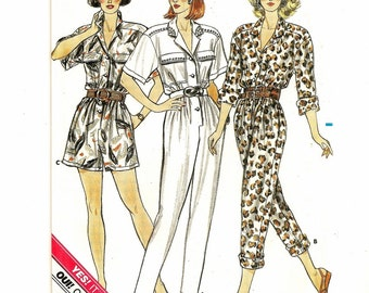 "A Tapered or A-Line, Long or Short Sleeve, Long or Short Jumpsuit Pattern for Women: Uncut - Sizes 14-16-18, Bust 36"" - 40"" • Butterick 4844"