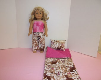 Fits American Girl Doll  Fancy Cats Sleeping Bag Pillow and Pajamas 80