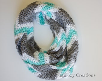 Chevron Scarf - Infinity Scarf - Crochet Infinity Scarf - loop Scarf - Fashion Scarf - Accessories - Gifts for her