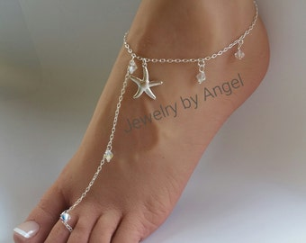 Crystal Starfish Foot Jewelry Anklet Bridesmaid Gift Beach Wedding Bridal Jewelry Single Anklet