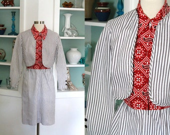 1960s Bandana Print Dress and Jacket Set / Vintage 60s Minx Red Black White Western Print Striped Fitted Dress w/ Bolero / Cotton Twill - S