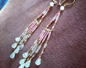 Pink Coral Rainbow Moonstone & Rose Quartz 14 Kt Gold-Filled Earrings