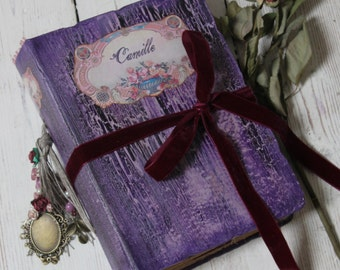Purple wedding guest book, plum vintage style guest book, photo album, scrapbook, journal or baby album  - made to order 8.5x6''