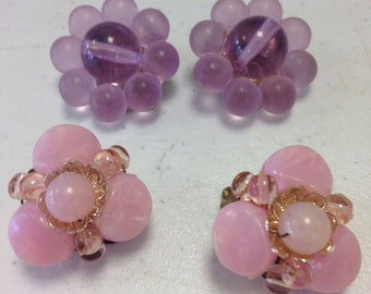 Vintage Beaded Clip on Earrings/Pink/Purple/2-Pair/Costume Jewelry