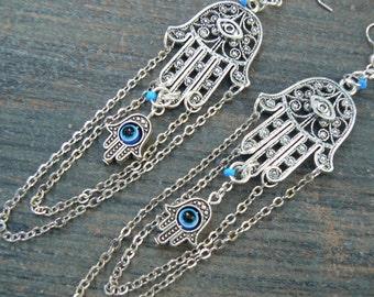 Hamsa earrings zen earrings spiritual earrings evil eye earrings tribal fusion Greek chandelier boho yoga earrings in yoga boho gypsy style