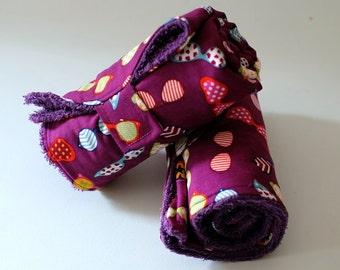 Matelas à langer - Tapis de change nomade lunettes - coloris mixte garçon fille - tissu coton éponge violet - imperméable - le panda volant