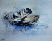 "Custom Couple Painting, Original Acrylic, Modern Art, Blue, Large 40x47"",Only Custom 1 Order"
