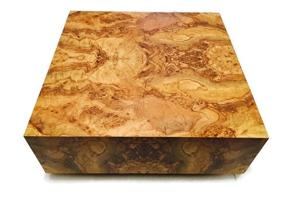 vintage burl wood floating coffee table 36 x 36 square cube