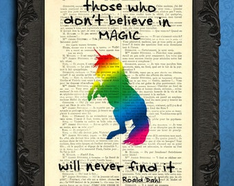 unicorn print rainbow unicorn art i believe print roald dahl illustration