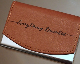Custom Engraved Leather Business Card Holder, Groomsmen Gift, Personalized Business Card Case, Groomsman Gift, Wedding Favor