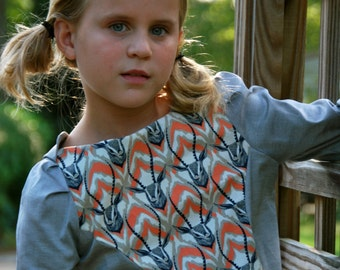 Size 3 4 5 6 7 8 girls Fall Dress -  modern shift dress - Long sleeve shift dress for girls stag print