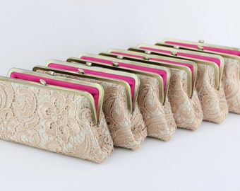 Champagne Lace Bridesmaid Clutches/ Shabby Chic Lace Wedding Clutches / Retro Style Wedding Purses / Bridal Clutch Set - Set of 7