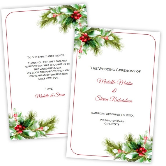 Folded wedding program template christmas holly diy folded wedding program template christmas holly diy printable template instant download microsoft word file editable program pronofoot35fo Images