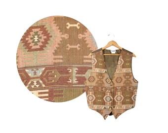 Large Brown Navajo Vest // Tan Aztec Vest by CLIO // A54