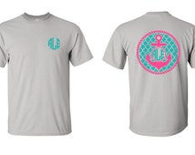 Monogram Anchor Shirt, Pattern Anchor with Monogram, Adult Anchor Shirt, Personalized Anchor Tee