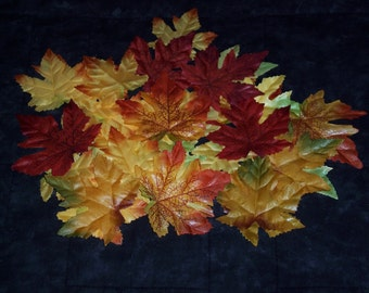 Fall Maple leaves,Autumn color mix,plain,not glittered or shiny,50/pkg,reds,yellows,oranges,browns,silk,leaves appx 2.5 inch and 3.25 inch