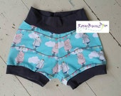 Baby shorts - Hippos on a high wire - cuff shorts  (size 12-18 mo)