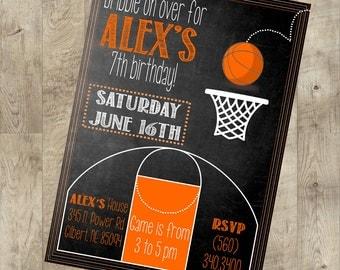 Basketball Party Invite, Sports invite, Chalkboard invite, Custom invite