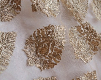 gold lace fabric, metallic gold floral lace fabric, gold embroidered lace fabric