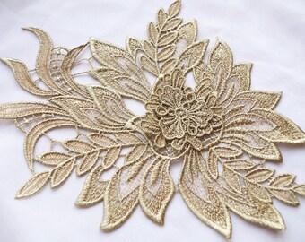 metallic gold lace applique, golden peony lace applique, 3D floral applique