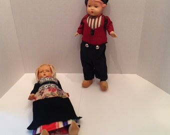 "1950's Composition Dolls Dutch Boy and Girl  15"" Dolls"