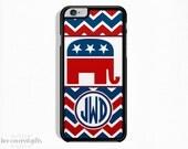 iPhone 6 Plus Case, iPhone 6 Case, iPhone 5s Case, iPhone 5c Case, Red White Blue Republican, Monogram Gift (240)