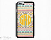 iPhone 6 Plus Case, iPhone 6 Case, iPhone 5s Case, iPhone 5c Case, Yellow and Blue Tribal, Monogram Gift (173)