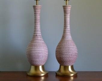 Mid Century Striped Ceramic Lamp Pair with Shades