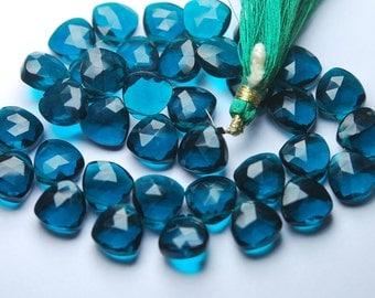 5 Matched pairs,Superb Peacock Blue Quartz Faceted CUT Trillion Shape Briolettes,11x11mm Size,Finest Item