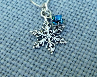 Sterling silver snowflake necklace,  nature necklace, winter jewelry, Christmas jewelry, birthstone necklace, box chain