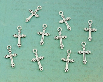 Silver Cross Charms - Package of 10 - Small & Lightweight