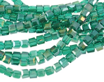 """4mm Indicolite Teal Green Blue AB Crystal Cubes 5601 - Full 16"""" Strand - About 85 Beads - Rich Ocean Color"""