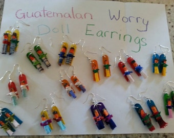 One Pair of Guatemalan Worry/Trouble Doll Earrings