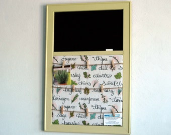 Herb Fabric Pinboard with Clothespin Photo Display and Chalkboard Kitchen Organizer in a Pale Avacado Frame