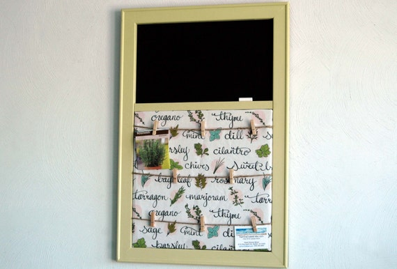 Herb Fabric Pinboard With Clothespin Photo Display And