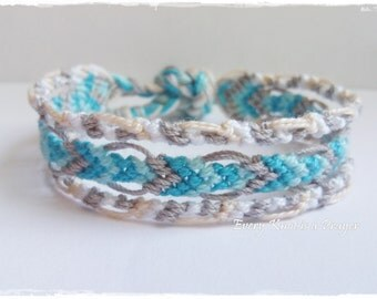 Friendship Bracelet, Macrame, Woven Bracelet, Wristband, Knotted Bracelet  - Grey, White, LightBlue